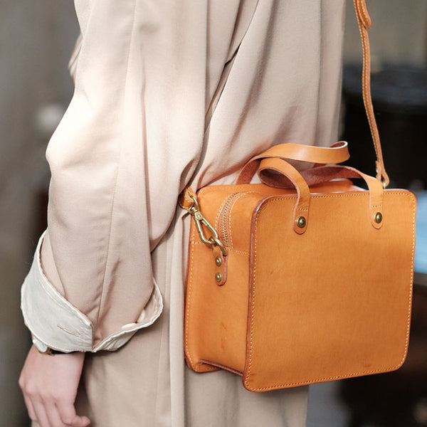 Small Ladies Leather Side Bag Purse Shoulder Handbags for Women Brown