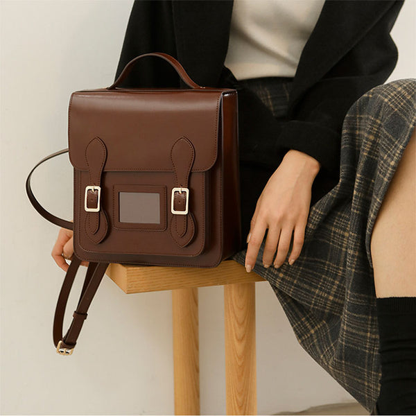 Small Ladies Square Leather Flap Backpack Purse Knapsack for Women Brown