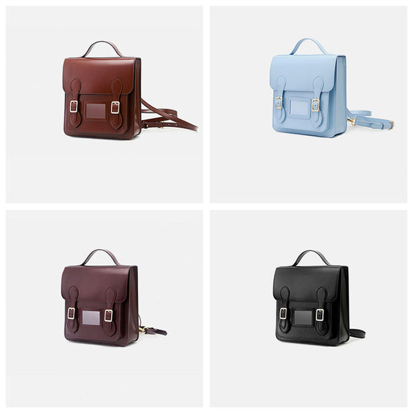 Small Ladies Square Leather Flap Backpack Purse Knapsack for Women Designer