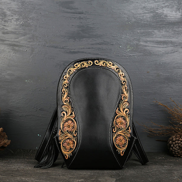 Small Ladies Tooled Leather Backpack Purse Boho Rucksack Bag For Women Accessories