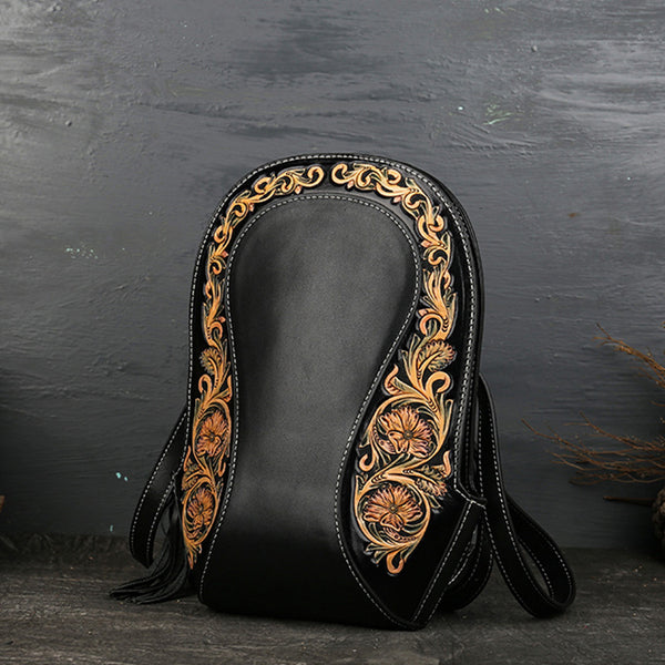 Small Ladies Tooled Leather Backpack Purse Boho Rucksack Bag For Women
