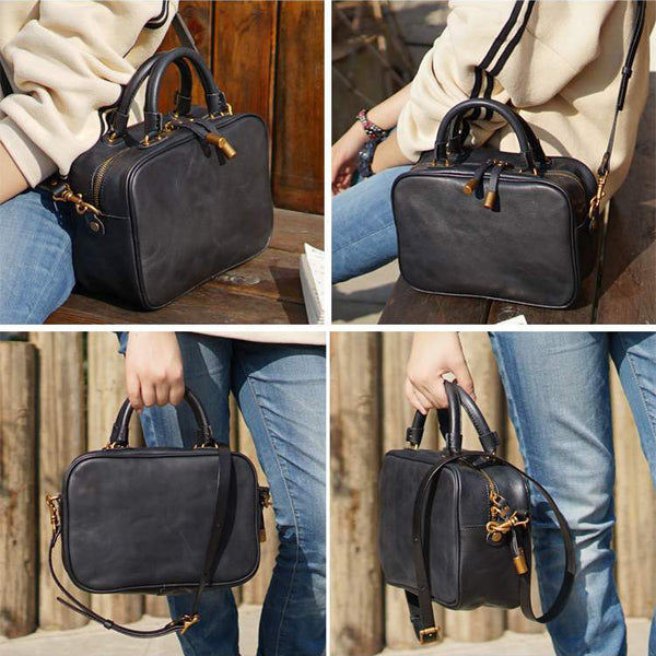 Small Leather Over the Shoulder Purse Bags Crossbody Handbags for Ladies black