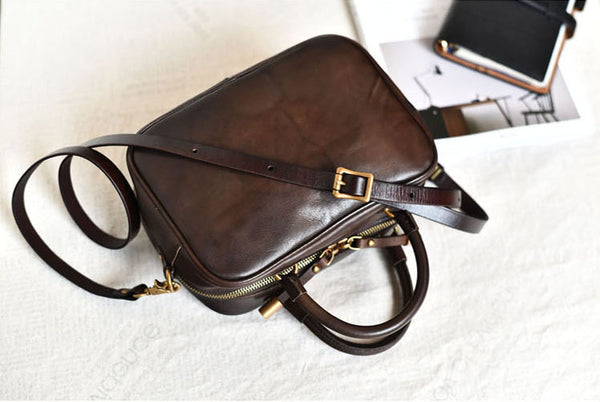 Small Leather Over the Shoulder Purse Bags Crossbody Handbags for Ladies coffee