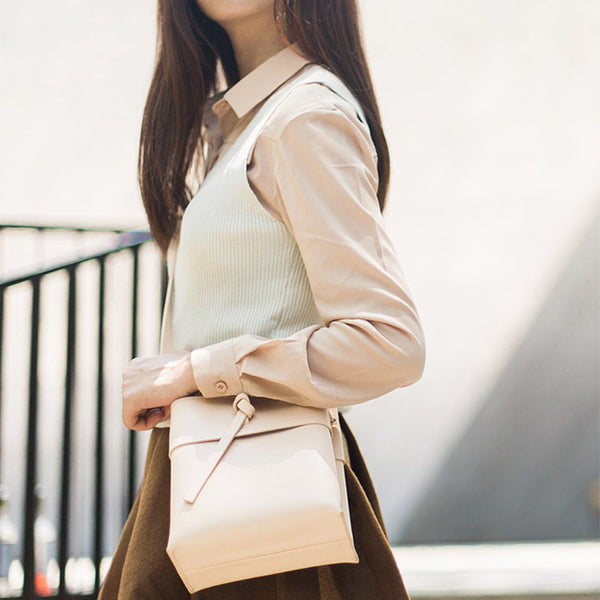 Small Leather Womens Bucket Bag Leather Crossbody Bags for Women fashion