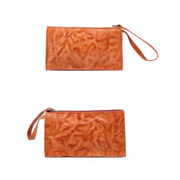 Small Orange Brown Leather Clutch Wallet Purse Side Bag for Womens Cowhide