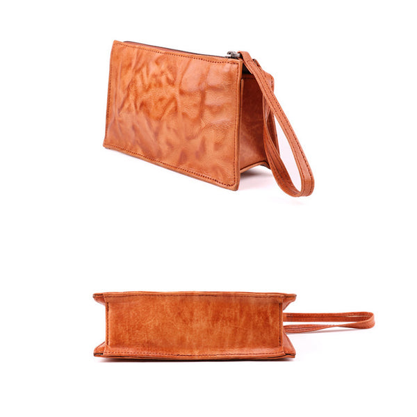 Small Orange Brown Leather Clutch Wallet Purse Side Bag for Womens Designer
