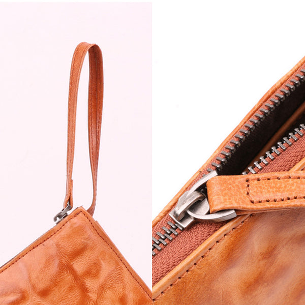 Small Orange Brown Leather Clutch Wallet Purse Side Bag for Womens Genuine Leather