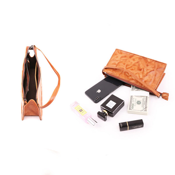 Small Orange Brown Leather Clutch Wallet Purse Side Bag for Womens Handmade