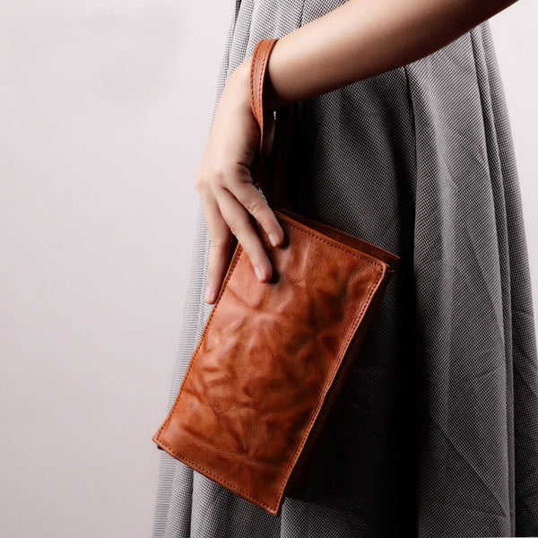 Small Orange Brown Leather Clutch Wallet Purse Side Bag