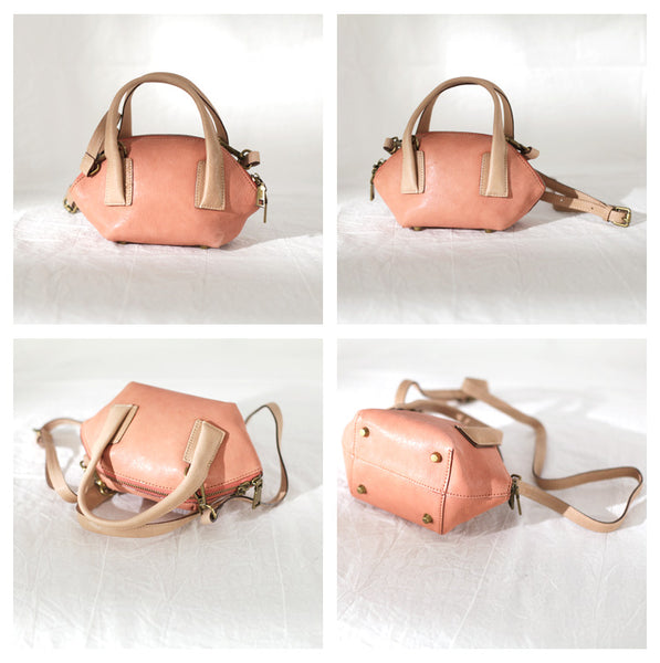 Small Pink Leather Satchel Handbags Over The Shoulder purse for WomenCute