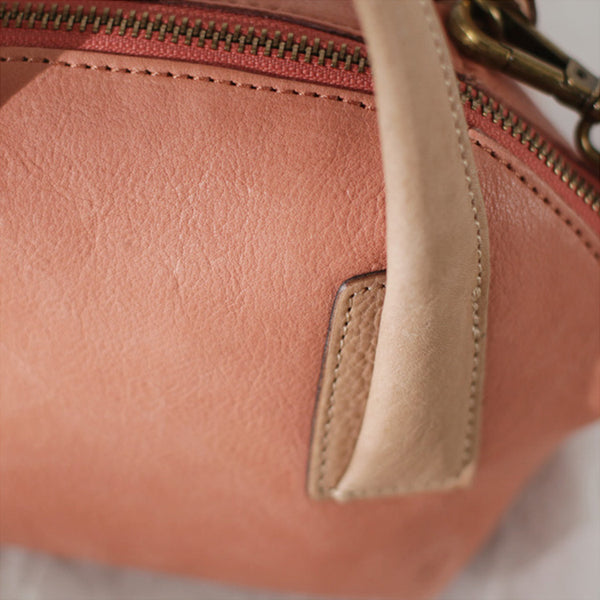 Small Pink Leather Satchel Handbags Over The Shoulder purse for Women Designer