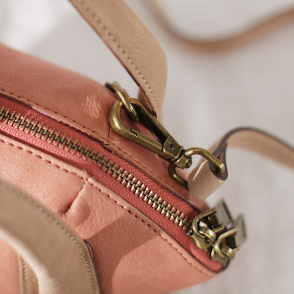 Small Pink Leather Satchel Handbags Over The Shoulder purse for Women Details
