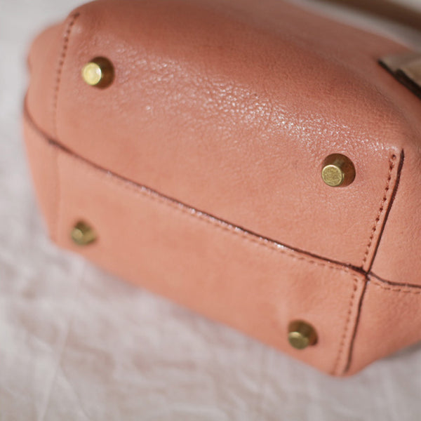Small Pink Leather Satchel Handbags Over The Shoulder purse for Women Fashion