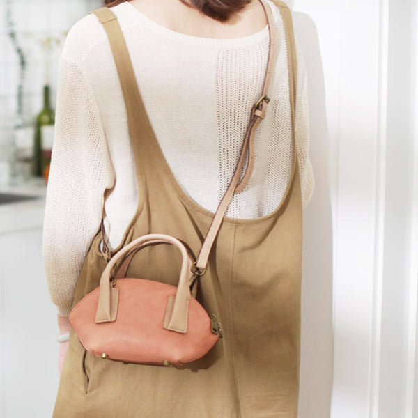 Small Pink Leather Satchel Handbags Over The Shoulder purse for Women