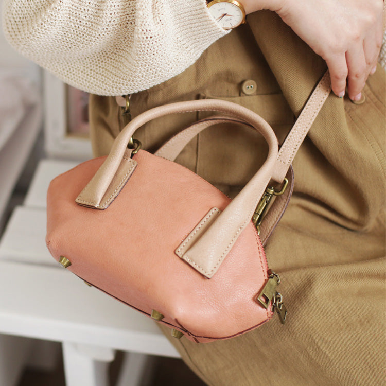 Small Pink Leather Satchel Handbags Over The Shoulder purse