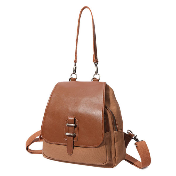Small Vintage Womens Canvas And Leather Backpack Purse Shoulder Handbags for Women Chic