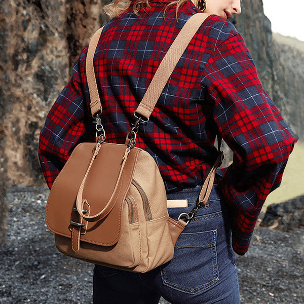 Small Vintage Womens Canvas And Leather Backpack Purse Shoulder Handbags for Women Cool