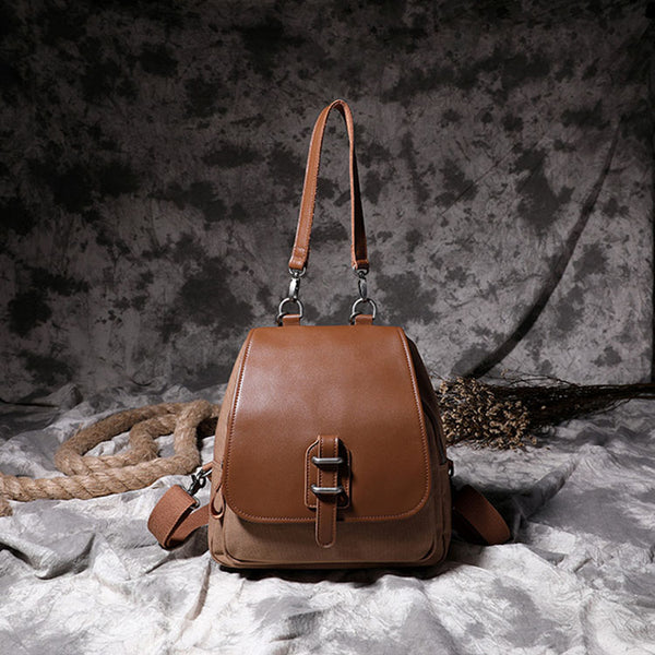 Small Vintage Womens Canvas And Leather Backpack Purse Shoulder Handbags for Women Details