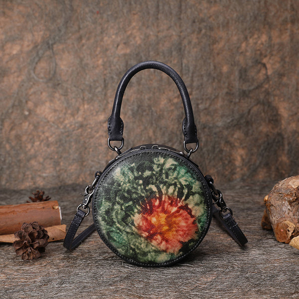 Small Women Circle Bag Leather Crossbody Bags Shoulder Bag Purses for Women