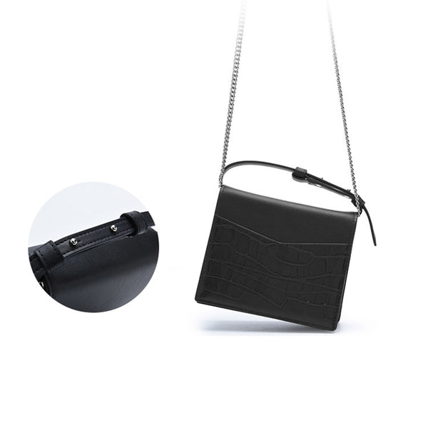 Small Women's Black Crossbody Bag Leather Handbags Purses for Women Boutique