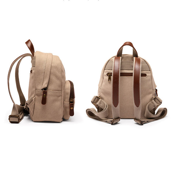 Small Women's Canvas And Leather Backpack Purse Rucksack For Women