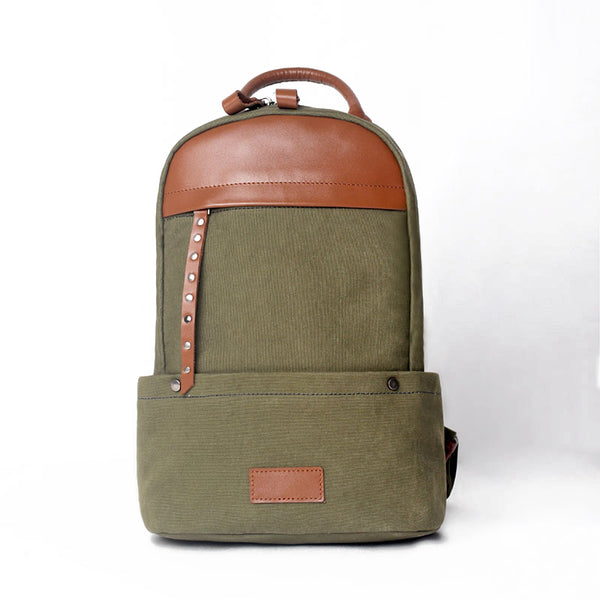 Green-Canvas-and-Leather-Backpack-Bag-Handmade-Canvas-Rucksacks-Travel-Backpack-for-Women-Beautiful