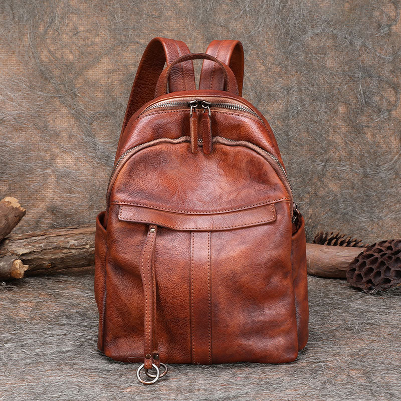 Small Women's Genuine Leather Backpack Bags Purse Stylish Backpacks