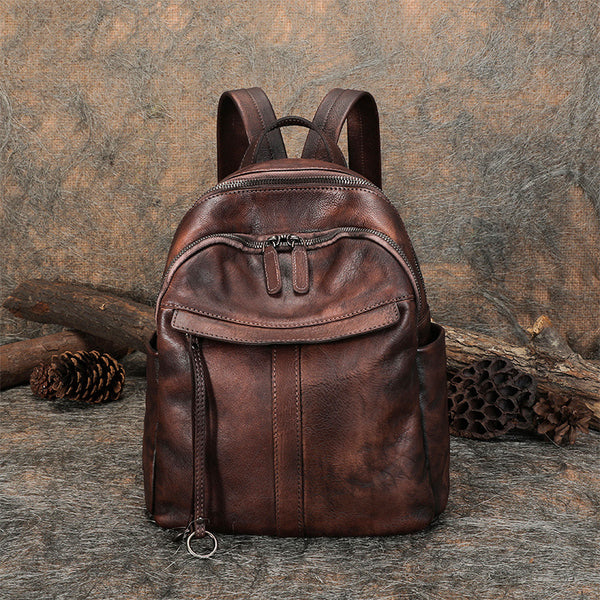 Small Women's Genuine Leather Backpack Bags Purse Stylish Backpacks for Women Beautiful
