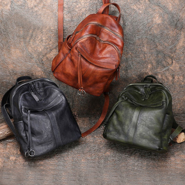 Small Women's Genuine Leather Backpack Bags Purse Stylish Backpacks for Women Chic