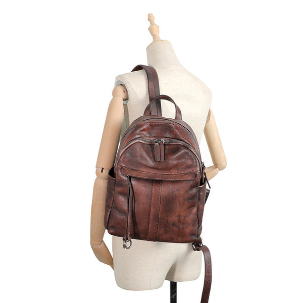 Small Women's Genuine Leather Backpack Bags Purse Stylish Backpacks for Women Fashion