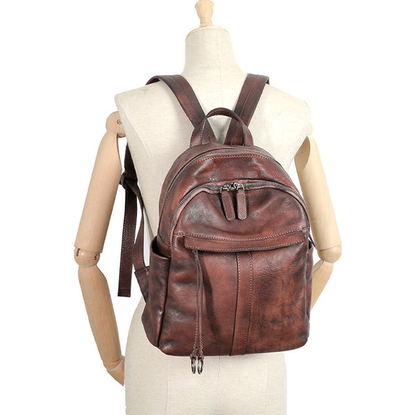Small Women's Genuine Leather Backpack Bags Purse Stylish Backpacks for Women Funky