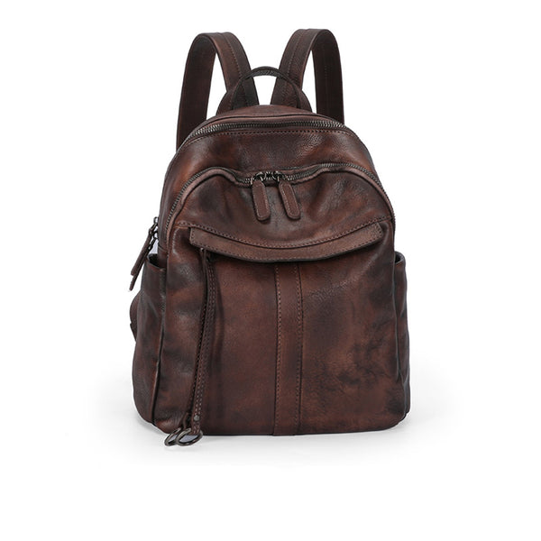 Small Women's Genuine Leather Backpack Bags Purse