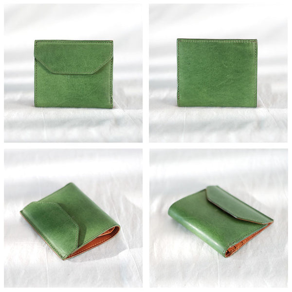 Small Women's Genuine Leather Billfold Wallet With Card Holder For Women Minimalist