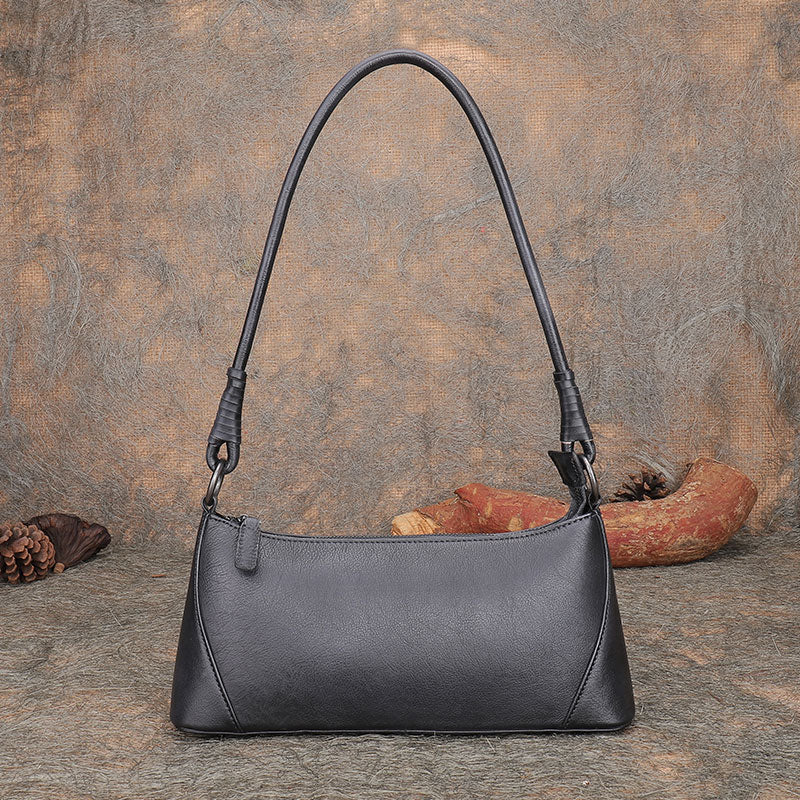 Small Women's Genuine Leather Shoulder Bags Handbags for Women Black