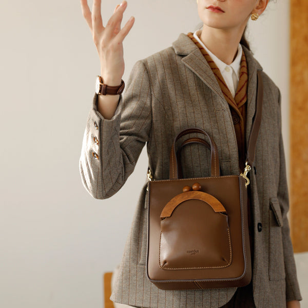 Small Women's Genuine Leather Tote Bags Handbags Crossbody Purse for Women Brown