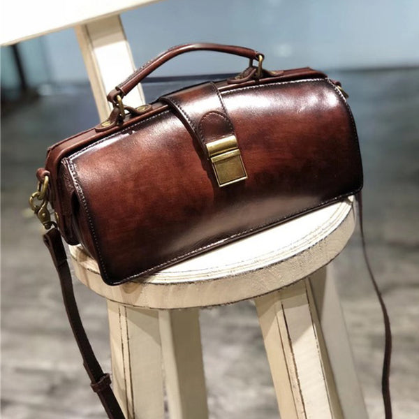 Small Women's Leather Doctor Bag Cowhide Crossbody Satchel Purse for Women Chic