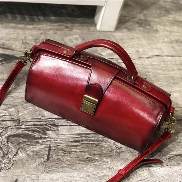Small Women's Leather Doctor Bag Cowhide Crossbody Satchel Purse for Women Inside