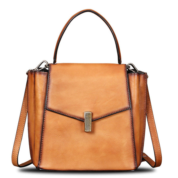 Small Women's Leather Satchel Handbags Purse Crossbody Bag for Women Brown
