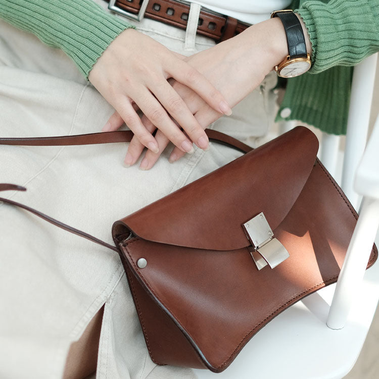 Small Women's Vintage Leather Crossbody Satchel Purse Shoulder Bag For Women Accessories