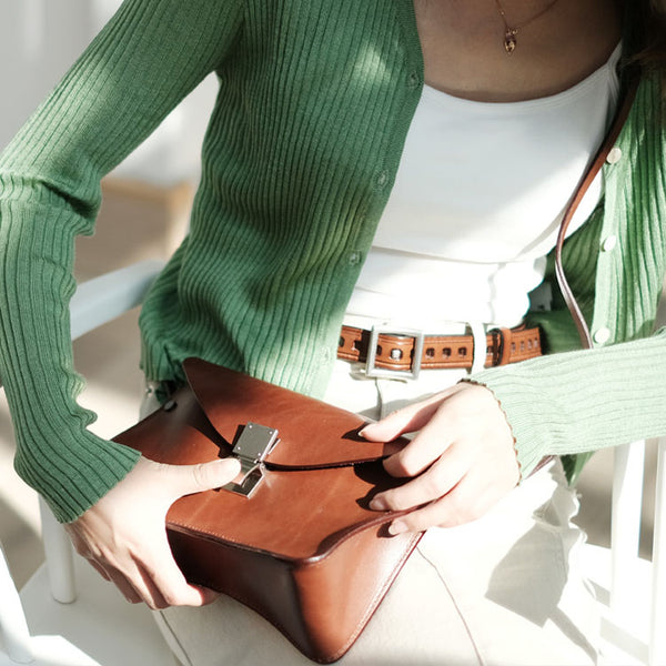 Small Women's Vintage Leather Crossbody Satchel Purse Shoulder Bag For Women Brown