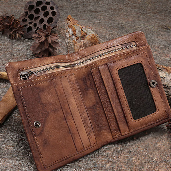Small Women's Vintage Leather Wallet Billfolds Purse Ladies Leather Wallets Unique