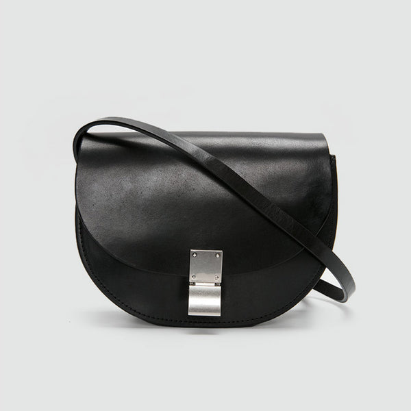 Small Womens Black Leather Crossbody Saddle Bag Purse Side Bag for Women fashion