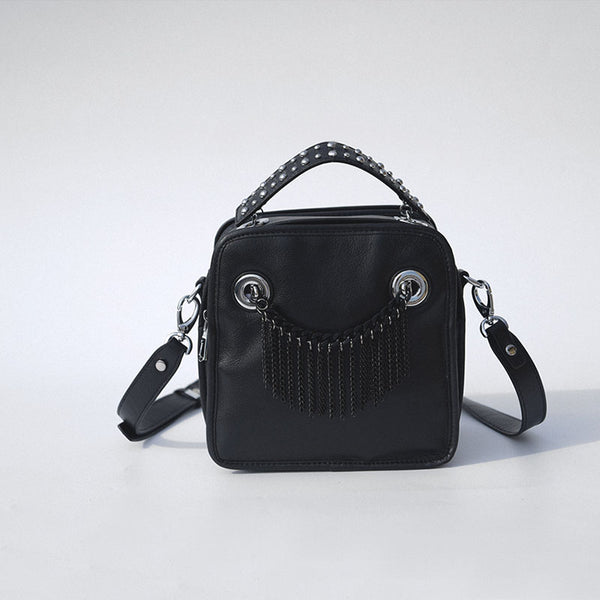 Small Womens Boho Black Leather Fringe Crossbody Bag With Metal Tassel Cross Shoulder Bag For Women Accessories
