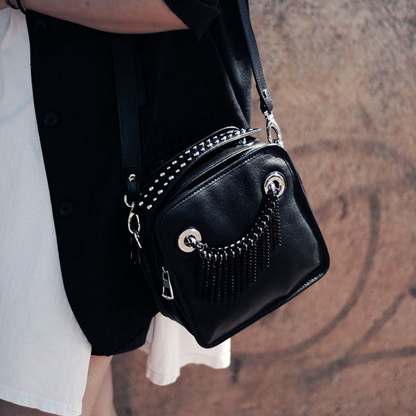 Small Womens Boho Black Leather Fringe Crossbody Bag With Metal Tassel Cross Shoulder Bag For Women Genuine Leather