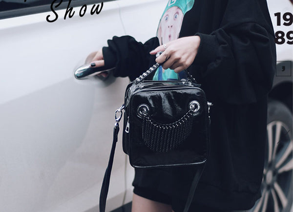 Small Womens Boho Black Leather Fringe Crossbody Bag With Metal Tassel Cross Shoulder Bag For Women Original