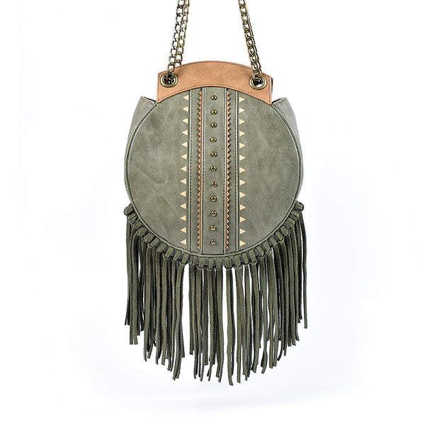Small Womens Boho Vegan Leather Fringe Circle Crossbody Bag Purse for Women Affordable