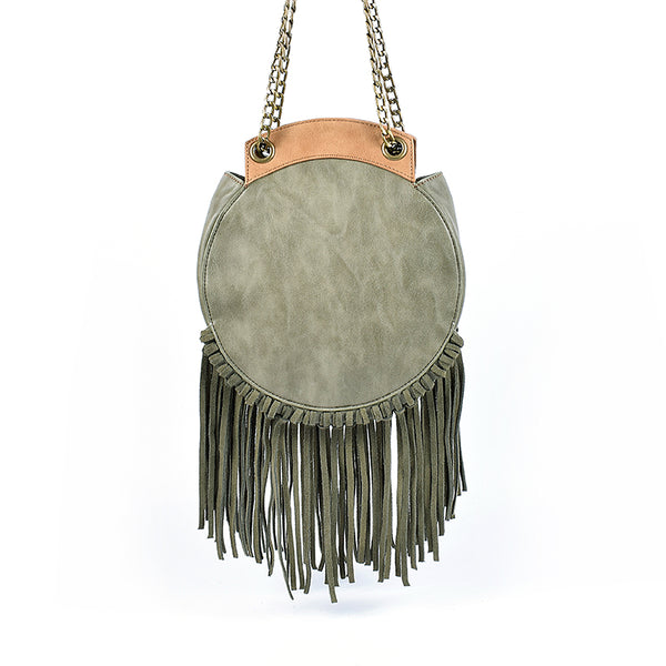 Small Womens Boho Vegan Leather Fringe Circle Crossbody Bag Purse for Women Beautiful