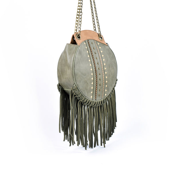 Small Womens Boho Vegan Leather Fringe Circle Crossbody Bag Purse for Women Best