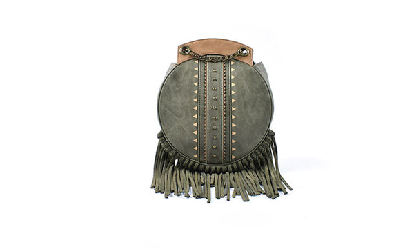 Small Womens Boho Vegan Leather Fringe Circle Crossbody Bag Purse for Women Cute