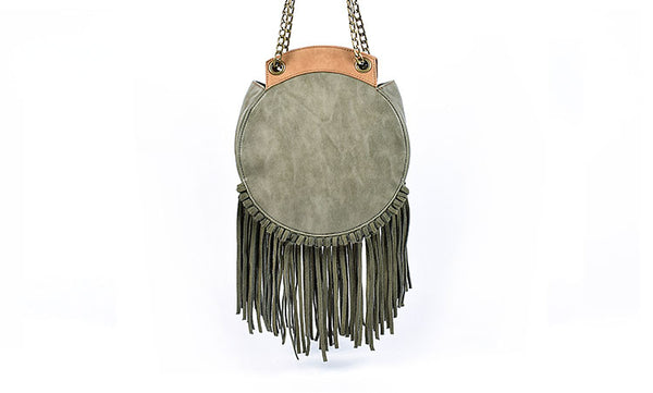 Small Womens Boho Vegan Leather Fringe Circle Crossbody Bag Purse for Women Durable